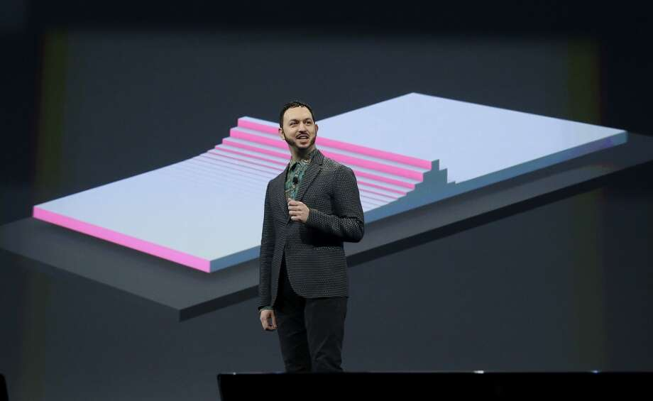 Matias Duarte, vice president Android Design, speaks about Material Design at the keynote presentation. Photo: Jeff Chiu, Associated Press