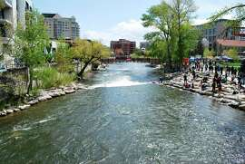 The Truckee River Whitewater Park in downtown Reno, is popular with kayakers and inner-tube enthusiasts. CREDIT: VISIT RENOTAHOE.COM