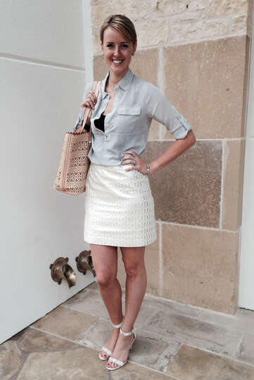 Aquila Mendez-Valdez is ready for summer in a white metallic skirt -- the focal point of her