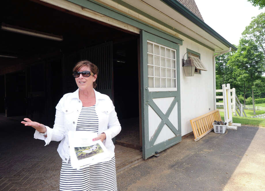 Michele Tesei, an agent for Houlihan Lawrence, a real estate company, gives a tour of the main barn on the 25.3 acre property that is for sale with an asking price of $13,900,000 at 50 Lafrentz Rd., Greenwich, Conn., Wednesday, June 25, 2014. Photo: Bob Luckey / Greenwich Time