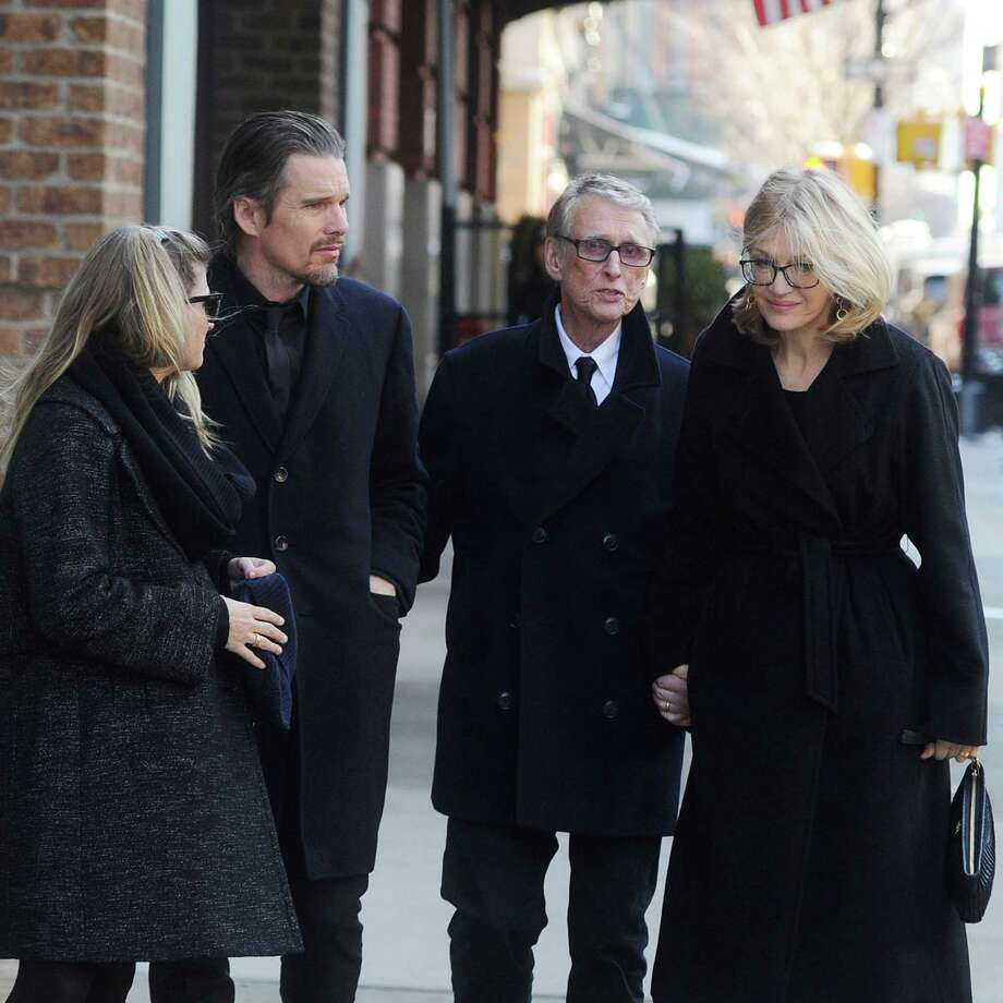 Diane Sawyer, right, is pictured with husband Mike Nichols, right, and actor Ethan Hawke, second from left, in New York City on February 7, 2014. Photo: Josiah Kamau, Getty Images / 2014 BuzzFoto