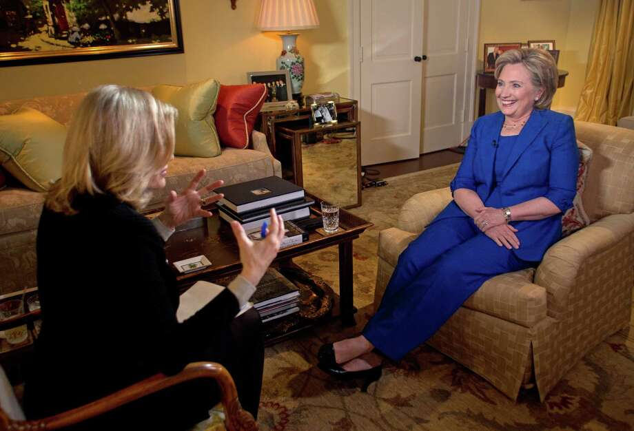 Hillary Clinton, right, talks with Diane Sawyer for her first TV interview in conjunction with Clinton's new book for a show that aired on June 9, 2014.  Photo: Martin H. Simon, Getty Images / © 2014 American Broadcasting Companies, Inc. All rights reserved.
