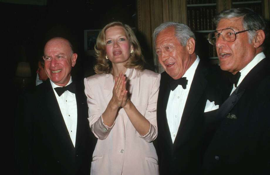 Diane Sawyer attends an event in 1987 honoring CBS's 60 Minutes, where Sawyer became the show's first female correspondent in 1984. Also pictured are (L to R): Laurence Tisch, William S. Paley and Don Hewitt.  Photo: Ron Galella, Getty Images / Ron Galella Collection