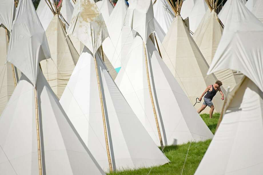 The overnight accommodationsat the Glastonbury Festival appear to be mostly teepees. Photo: Leon Neal, AFP/Getty Images