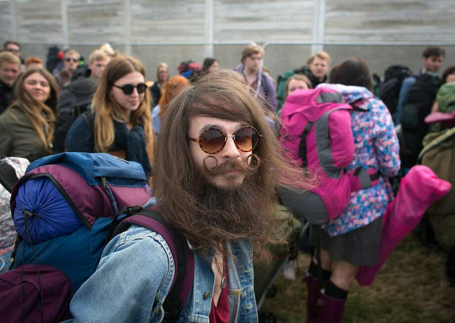 Hottest ticket in England:Bryan Patterson and his mustache are among the early arrivals at Worthy Farm for the first day of the Glastonbury Festival. Tickets to the event, which is in its 44th year, sold out in minutes even before any of the headline acts had been confirmed. Photo: Matt Cardy, Getty Images