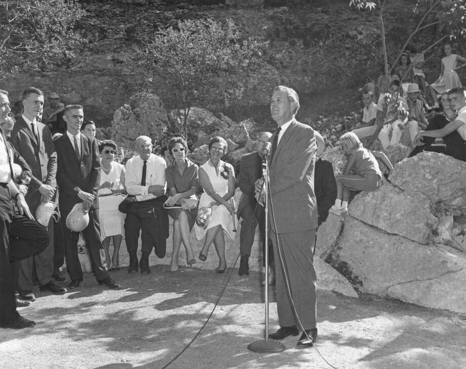 Then-Gov. John Connally opens the Natural Bridge Caverns to tourists in 1964. His widow, Nellie, rededicated the caverns Thursday. Photo: Natural Bridge Caverns / handout