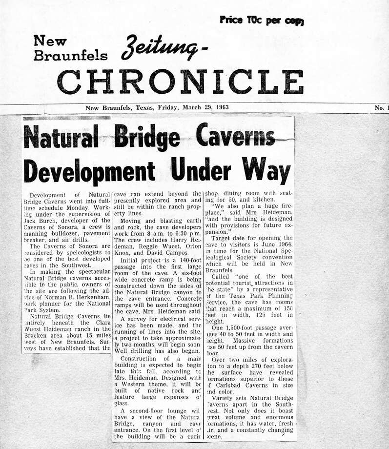 A clipping from the earliest developments at the site. Photo: Courtesy: Natural Bridge Caverns