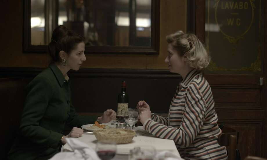 "The elegant Sandrine Kiberlain (left) portrays writer and philosopher Simone de Beauvoir and Emmanuelle Devos plays tempestuous novelist Violette Leduc in the French film ""Violette."" Photo: Special To The Chronicle"