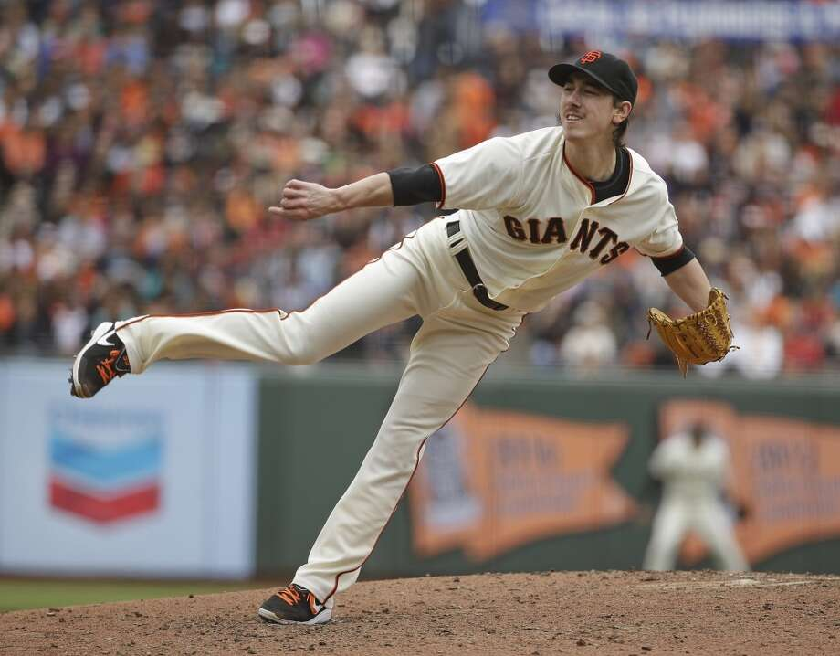 San Francisco Giants starting pitcher Tim Lincecum throws in the fifth inning of their baseball game against the San Diego Padres Wednesday, June 25, 2014, in San Francisco. Photo: Eric Risberg, Associated Press