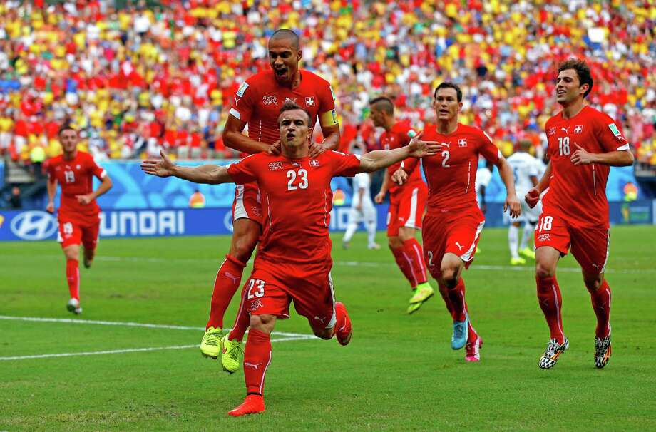 MANAUS, BRAZIL - JUNE 25:  Xherdan Shaqiri of Switzerland celebrates scoring his team's first goal during the 2014 FIFA World Cup Brazil Group E match between Honduras and Switzerland at Arena Amazonia on June 25, 2014 in Manaus, Brazil. Photo: Matthew Lewis, Getty Images / 2014 Getty Images