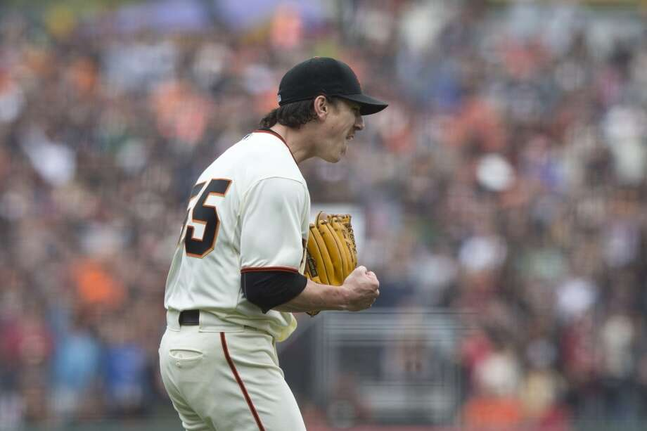 Tim Lincecum  celebrates after the game at AT&T Park on June 25, 2014 in San Francisco, California. Photo: Jason O. Watson, Getty Images