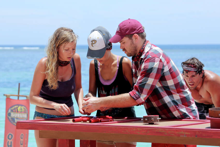 Katie Collins (from left), Ciera Eastin and Caleb Bankston compete during the first Immunity Challenge on the premiere episode of last year's