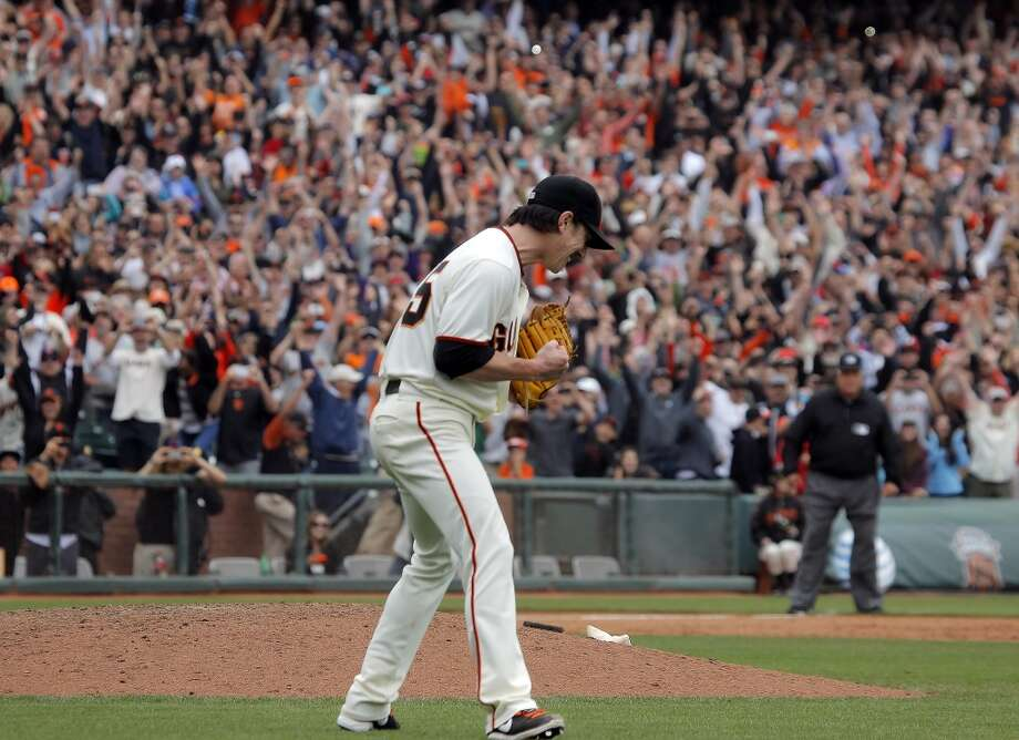 Pitcher Tim Lincecum pumps his fist as he pitches a no hitter as the San Francisco Giants played the San Diego Padres at AT&T Park in San Francisco, Calif., on Wednesday, June 25, 2014, defeating the Padres 4-0. Photo: San Francisco Chronicle