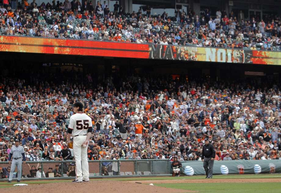 Pitcher Tim Lincecum stands on the mound in the ninth inning just before he pitched a no hitter as the San Francisco Giants played the San Diego Padres at AT&T Park in San Francisco, Calif., on Wednesday, June 25, 2014, defeating the Padres 4-0. Photo: San Francisco Chronicle