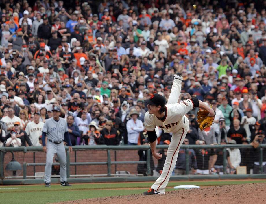 Pitcher Tim Lincecum throws the final pitch that was grounded out as he pitched a no hitter when the San Francisco Giants played the San Diego Padres at AT&T Park in San Francisco, Calif., on Wednesday, June 25, 2014, defeating the Padres 4-0. Photo: San Francisco Chronicle