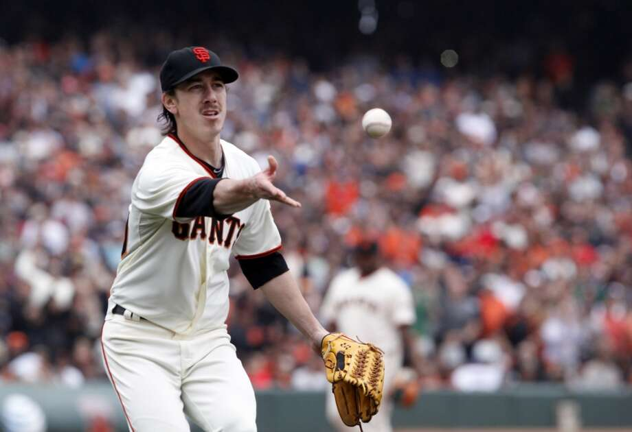 Pitcher Tim Lincecum fields the second out of the ninth inning on his way to pitching a no hitter as the San Francisco Giants played the San Diego Padres at AT&T Park in San Francisco, Calif., on Wednesday, June 25, 2014, defeating the Padres 4-0. Photo: San Francisco Chronicle