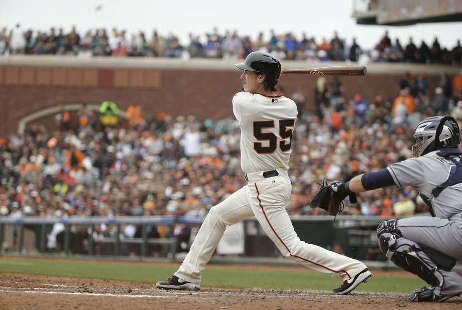 San Francisco Giants' Tim Lincecum singles against the San Diego Padres in the seventh inning of their baseball game Wednesday, June 25, 2014, in San Francisco. Lincecum threw his second career no-hitter. San Francisco won the game 4-0. (AP Photo/Eric Risberg) Photo: Associated Press