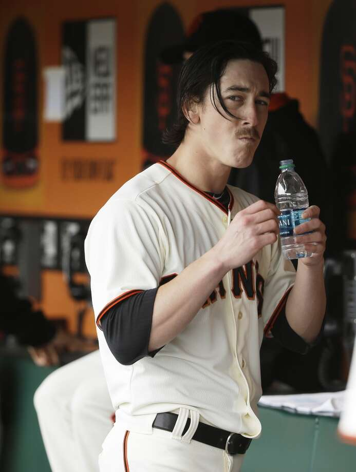 San Francisco Giants starting pitcher Tim Lincecum takes a drink of water in the dugout in the seventh inning of their baseball game against the San Diego Padres Wednesday, June 25, 2014, in San Francisco. Lincecum threw his second career no-hitter. San Francisco won the game 4-0. (AP Photo/Eric Risberg) Photo: Associated Press