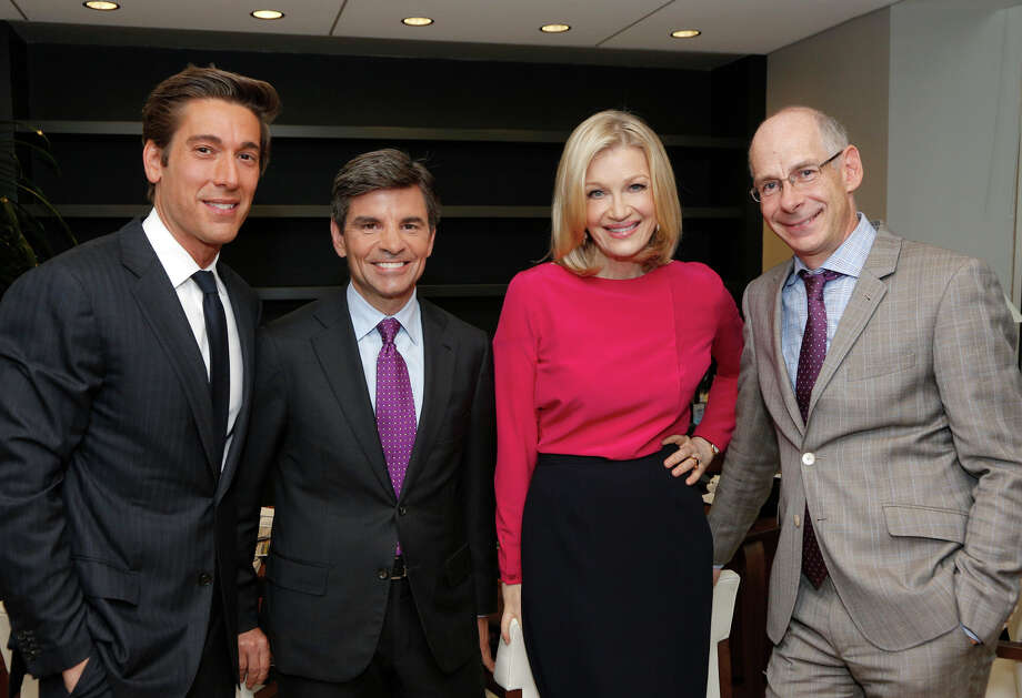 From left, David Muir, George Stephanopoulos, Diane Sawyer and ABC News President James Goldston. Sawyer will be replaced by Muir. Stephanopoulos will be live news chief anchor. Photo: Heidi Gutman, HOEP / American Broadcasting Companies,
