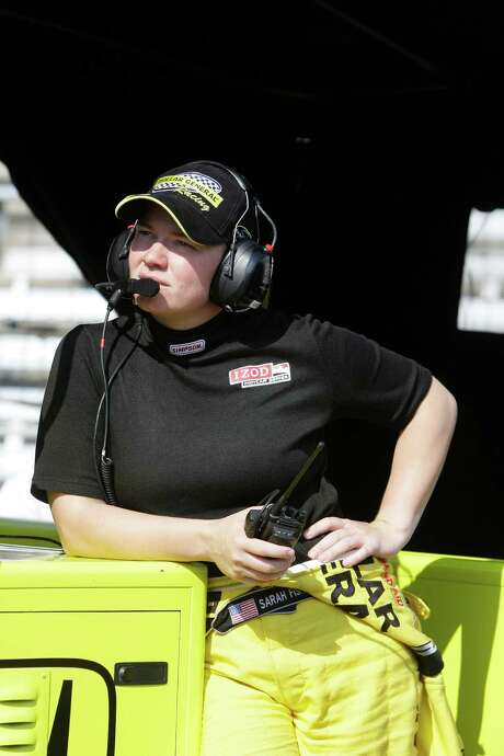 Sarah Fisher has gone from behind the wheel to a spot in the pits for the Sarah Fisher Hartman Racing team. Photo: Darron Cummings, STF / AP