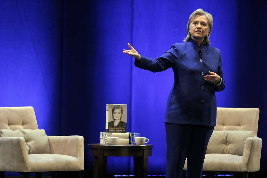 Hillary Rodham Clinton, in San Francisco to promote her new book, was greeted by 2,200 at the Orpheum Theatre and interviewed by KQED's Scott Shafer. Photo: Carlos Avila Gonzalez, The Chronicle
