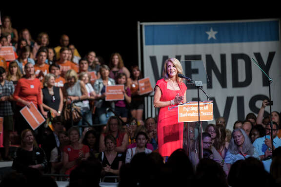 Wendy Davis speaks to supporters at the Palmer Events center in Austin, Texas on Wednesday, June 25, 2014. Davis celebrated Wednesday night the anniversary of her star-making filibuster over Texas abortion restrictions by rallying supporters who are eager to recapture the defiant energy of last summer and reinvigorate her underdog campaign for governor. (AP Photo/Austin American-Statesman, Ricardo B. Brazziell) AUSTIN CHRONICLE OUT, COMMUNITY IMPACT OUT, INTERNET AND TV MUST CREDIT PHOTOGRAPHER AND STATESMAN.COM, MAGS OUT