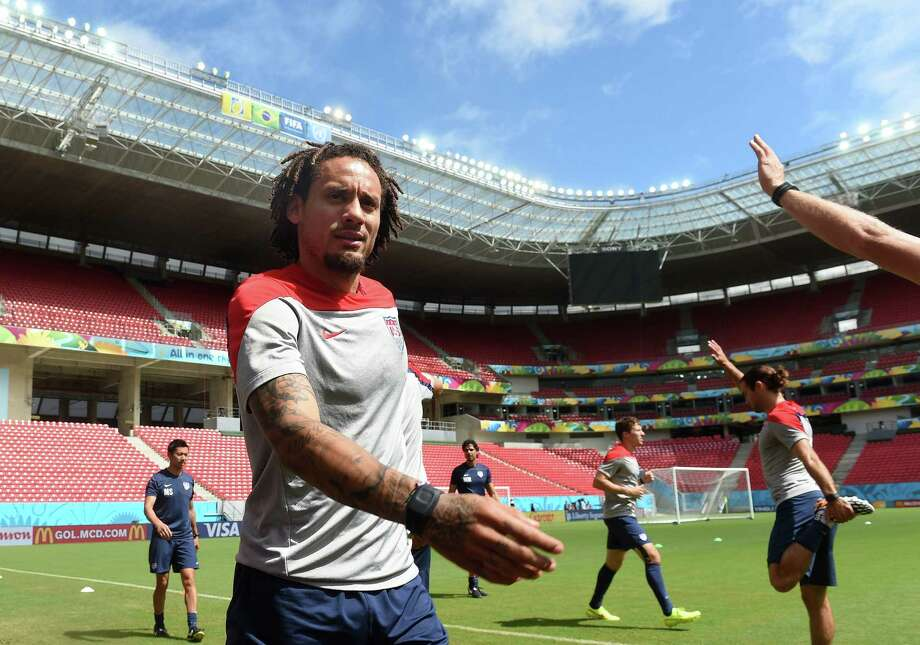 Midfielder Jermaine Jones, warming up at practice Wednesday, is one of five German-American players on the U.S. team. Photo: Patrik Stollarz / AFP / Getty Images / AFP