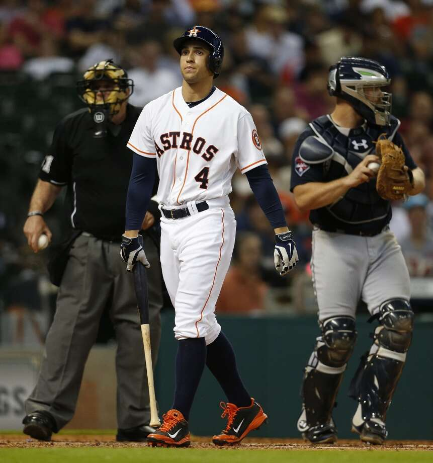 George Springer strikes out during the fourth inning. Photo: Karen Warren, Houston Chronicle