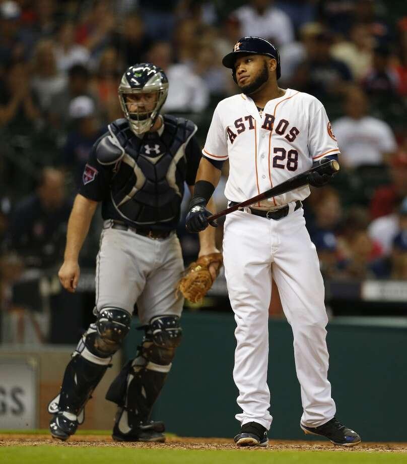 Jon Singleton reacts after striking out during the ninth inning. Photo: Karen Warren, Houston Chronicle