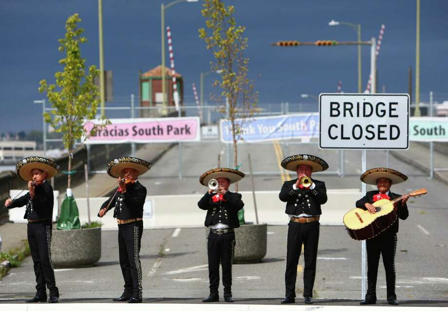 Then: Mariachi Ayutla performs on the old South Park bridge during a celebration kicking off construction of a replacement bridge on Thursday, May 5, 2011, in Seattle's South Park neighborhood. Photo by Joshua Trujillo. Photo: FILE PHOTO, SEATTLEPI.COM / SEATTLEPI.COM