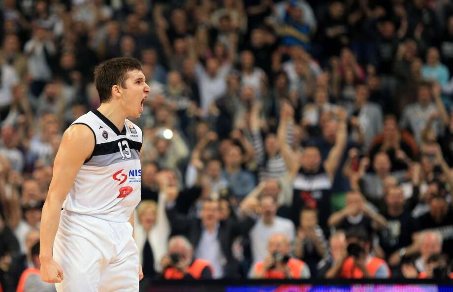 30. San Antonio – Bogdan Bogdanovic, 6-6, G, Partizan  International player? Check. Good shooter with a more versatile game than his reputation. Check. Might stay overseas, check and sounds like a Spurs draft choice. Photo: Srdjan Stevanovic, Getty Images
