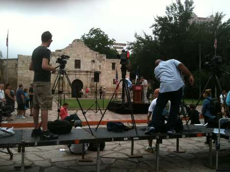 Media members set up for Phil Collins appearance at the Alamo Thursday. Photo: Scott Huddleston/San Antonio Express-News