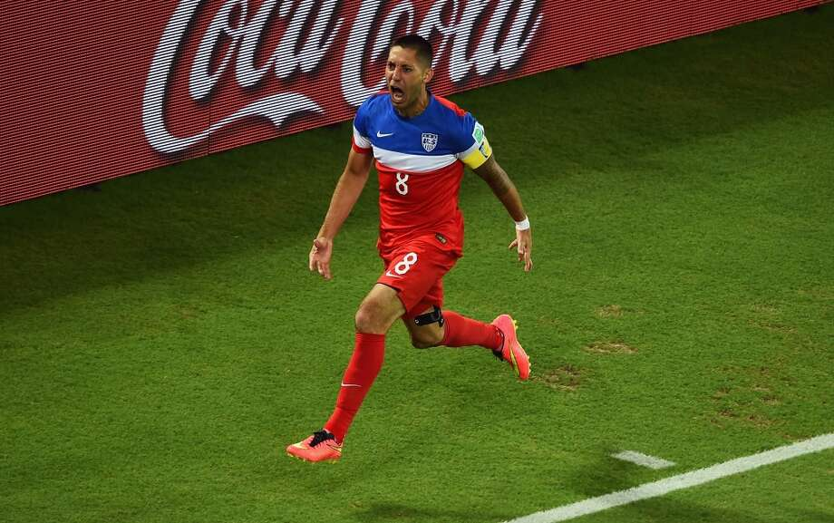 Clint Dempsey of the United States celebrates after scoring his team's first goal during the 2014 FIFA World Cup Brazil Group G match between Ghana and the United States at Estadio das Dunas on June 16, 2014 in Natal, Brazil.  (Photo by Laurence Griffiths/Getty Images) Photo: Laurence Griffiths, Getty Images