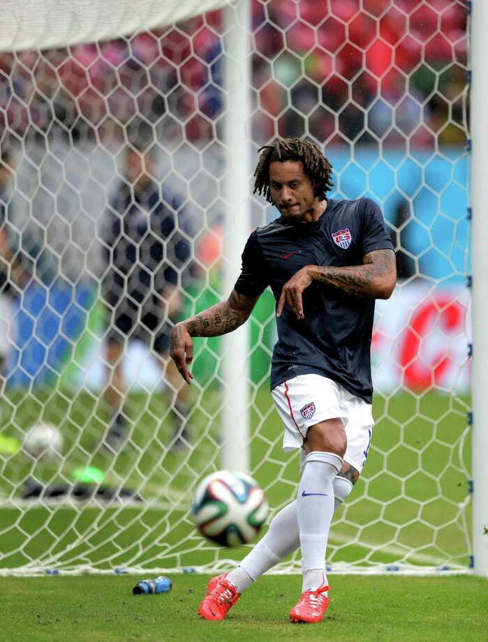 United States' Jermaine Jones warms up before the group G World Cup soccer match between the United States and Germany at the Arena Pernambuco in Recife, Brazil, Thursday, June 26, 2014. (AP Photo/Julio Cortez) Photo: Julio Cortez, Associated Press / AP