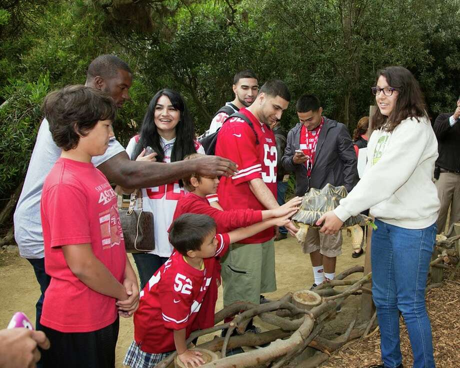 "San Francisco 49ers linebacker Patrick Willis and the winners of the Day at the Zoo contest pet a tortoise at San Francisco Zoo on Wednesday, June 25, 2014. Photo: Marianne Hale, San Francisco Zoo / ""Pacifica Arts, Inc."""