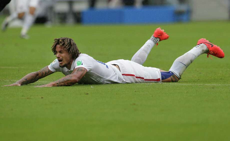 United States' Jermaine Jones reacts after losing the ball to Germany's goalkeeper Manuel Neuer during the group G World Cup soccer match between the USA and Germany at the Arena Pernambuco in Recife, Brazil, Thursday, June 26, 2014. (AP Photo/Petr David Josek) Photo: Petr David Josek, Associated Press / AP