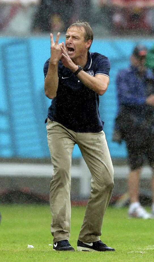 United States' head coach Juergen Klinsmann gestures during the group G World Cup soccer match between the USA and Germany at the Arena Pernambuco in Recife, Brazil, Thursday, June 26, 2014. (AP Photo/Matthias Schrader) Photo: Matthias Schrader, Associated Press / AP