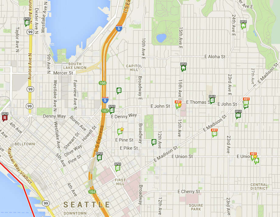 """Hot Homes"" show up along with other listings in a Redfin map search. Photo: Redfin"