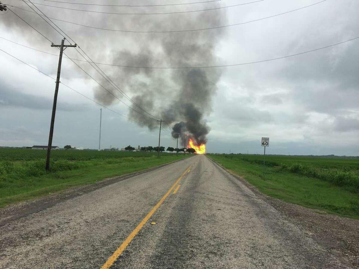 A view of the gas line rupture in Wharton County. (Wharton County Constable's Office, Precinct 2 Facebook)