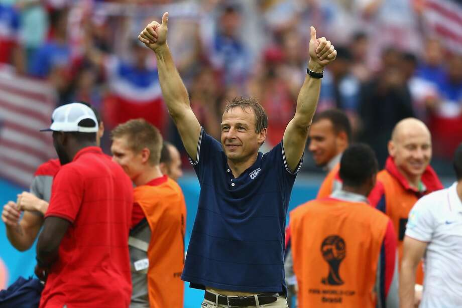 Head coach Jurgen Klinsmann of the United States acknowledges the fans after being defeated by Germany 1-0 during the 2014 FIFA World Cup Brazil group G match between the United States and Germany at Arena Pernambuco on June 26, 2014 in Recife, Brazil.  Photo: Michael Steele, Getty Images