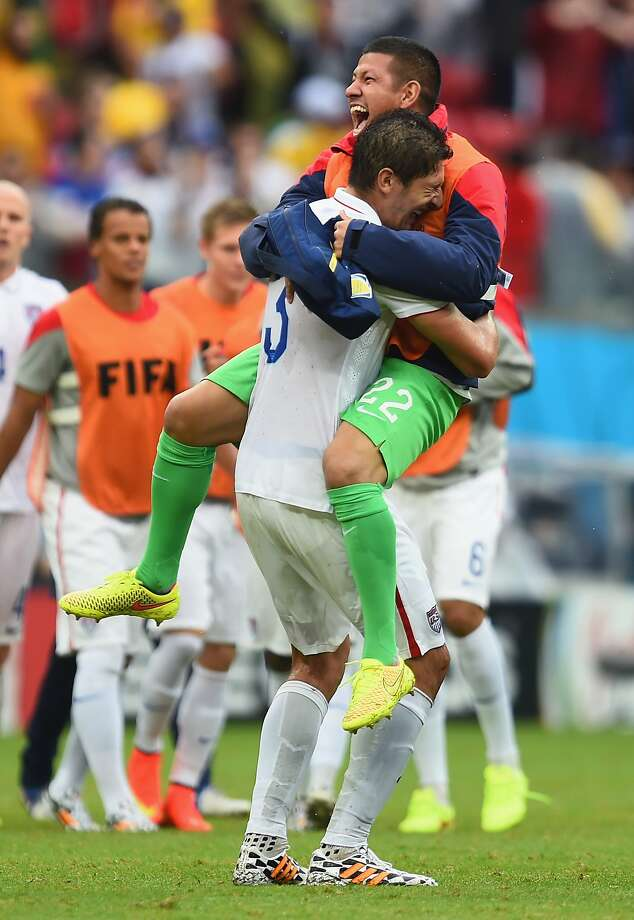 Omar Gonzalez (L) and Nick Rimando of the United States react after being defeated by Germany 1-0 during the 2014 FIFA World Cup Brazil group G match between the United States and Germany at Arena Pernambuco on June 26, 2014 in Recife, Brazil.  Photo: Jamie McDonald, Getty Images