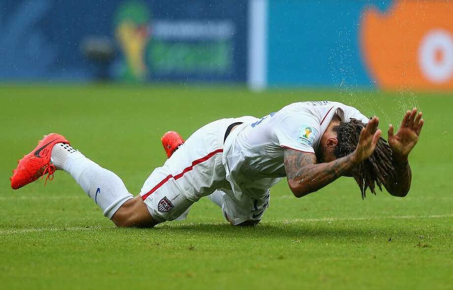Jermaine Jones of the United States reacts during the 2014 FIFA World Cup Brazil group G match between the United States and Germany at Arena Pernambuco on June 26, 2014 in Recife, Brazil. Photo: Martin Rose, Getty Images