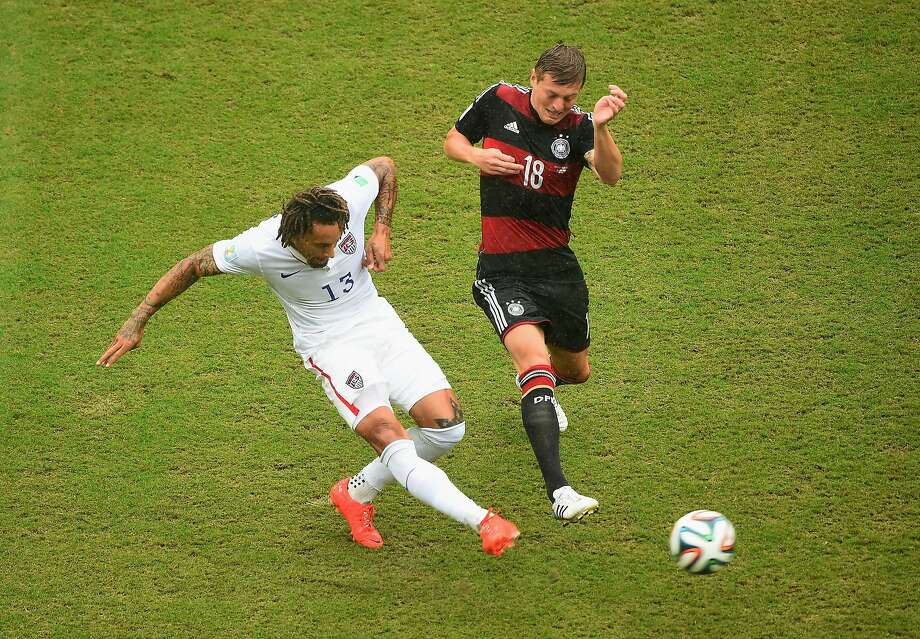 Jermaine Jones of the United States controls the ball against Toni Kroos of Germany during the 2014 FIFA World Cup Brazil group G match between the United States and Germany at Arena Pernambuco on June 26, 2014 in Recife, Brazil. Photo: Laurence Griffiths, Getty Images