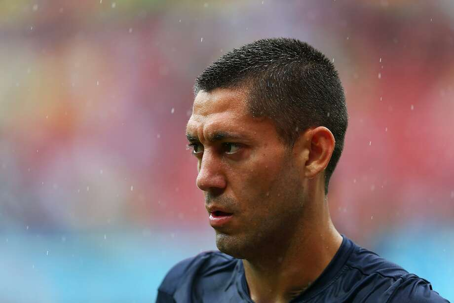 Clint Dempsey of the United States warms up in the rain prior to the 2014 FIFA World Cup Brazil group G match between the United States and Germany at Arena Pernambuco on June 26, 2014 in Recife, Brazil. Photo: Kevin C. Cox, Getty Images