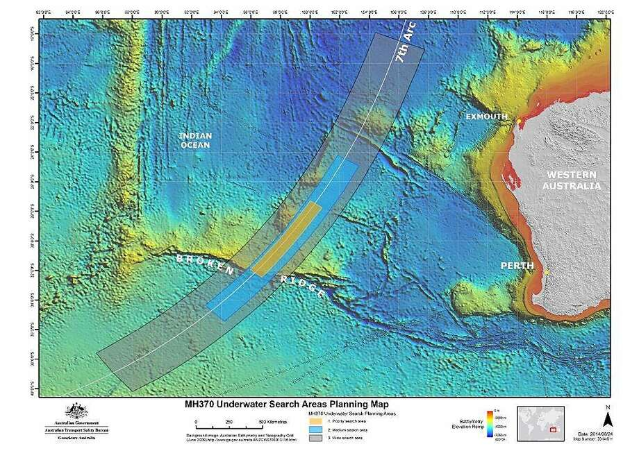 In this map provided on Thursday, June 26, 2014, by the Joint Agency Coordination Centre, details are presented in the search for the missing Malaysia Airlines Flight 370 in the southern Indian Ocean. Australian officials say the hunt for the missing plane that vanished during a flight from Kuala Lumpur to Beijing on March 8 with 239 passengers and crew aboard will shift farther south of the most recent suspected crash site in a remote stretch of Indian Ocean. (AP Photo/Joint Agency Coordination Centre) EDITORIAL USE ONLY Photo: Associated Press