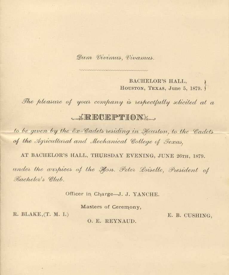 A copy of the original invitation sent to the first gathering of former Texas A&M students, held June 26, 1879 at the Bachelor's Hall on the Texas A&M campus. (The Association of Former Students) Photo: The Association Of Former Students