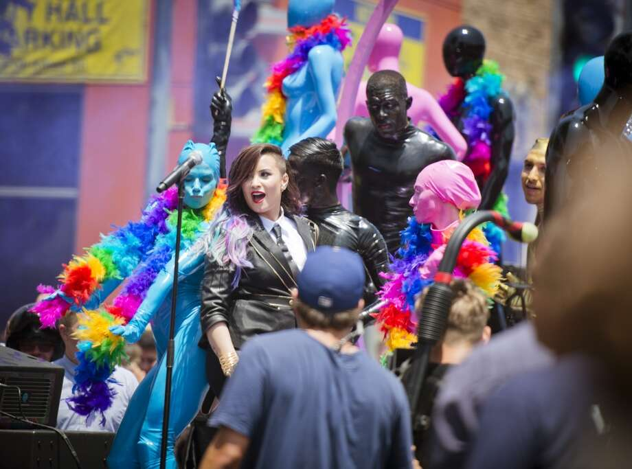 Singer Demi Lovato performs during the 2014 LA Gay Pride Festival on June 8, 2014 in West Hollywood, California. Photo: Chelsea Guglielmino, Getty Images