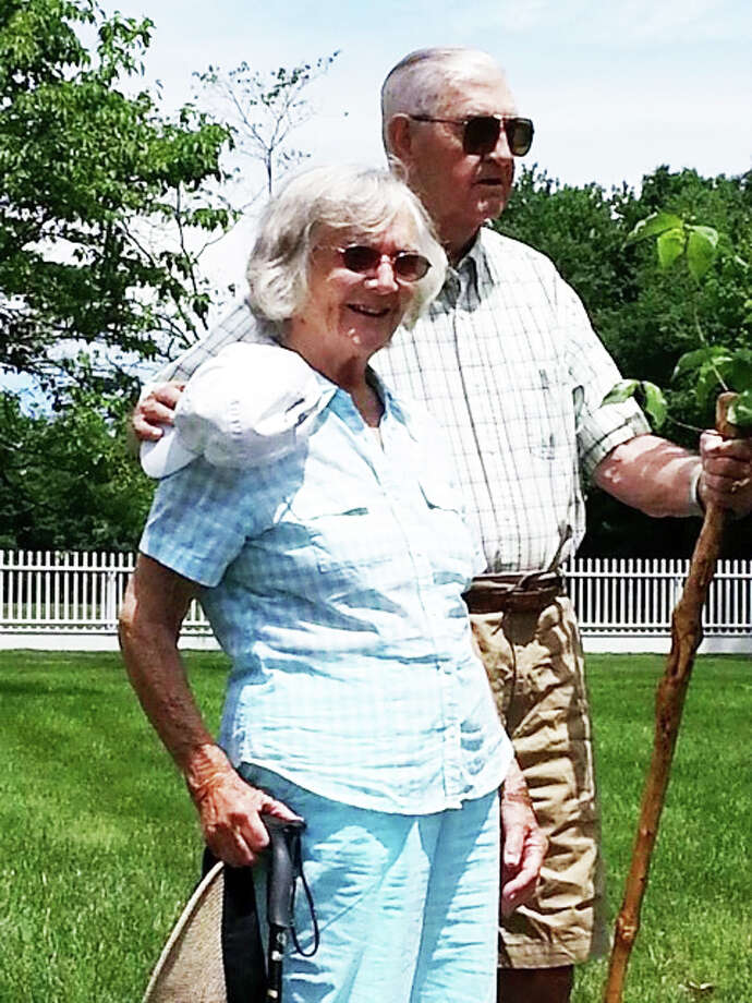 Alice and James Knick celebrated their 70th wedding anniversary on Tuesday, June 24, with family members and friends. The couple is seen here Tuesday outside Greenfield Hill Congregational Church, where a dogwood tree was planted in their honor. Photo: Fairfield Citizen/Contributed / Fairfield Citizen