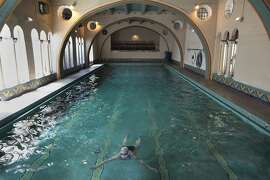 Stefanie Herzstein swims through the Berkeley City Club pool in Berkeley, Calif. on Thursday, June 26, 2015, 2014. Julia Morgan was one of the California's best architects.