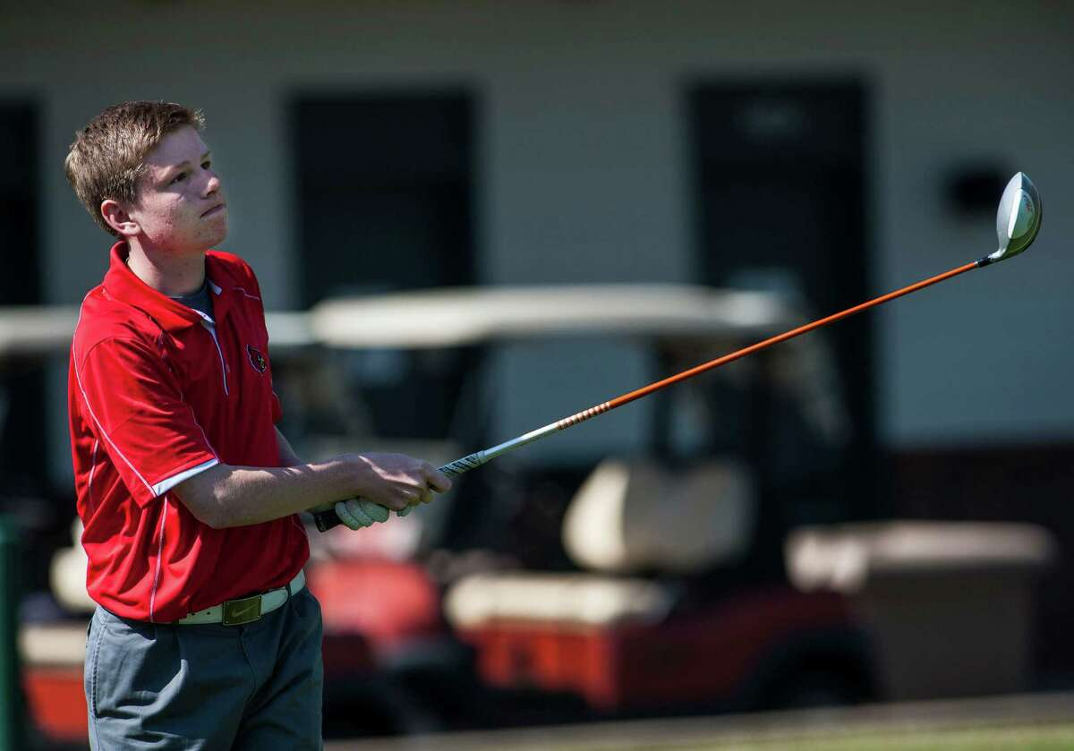 Greenwich high school's Derek Sudell drives off the 1st tee during a boy's golf match against Stamford high school played at the Griffith E. Harris Golf Course, Greenwich, CT on Monday, April, 21st, 2014.